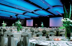 A venue to round tables set for a large function